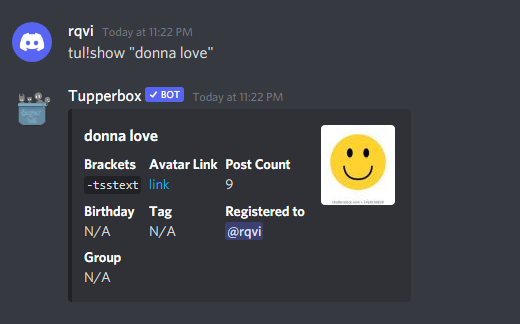 example of tul!show command in tupperbox discord